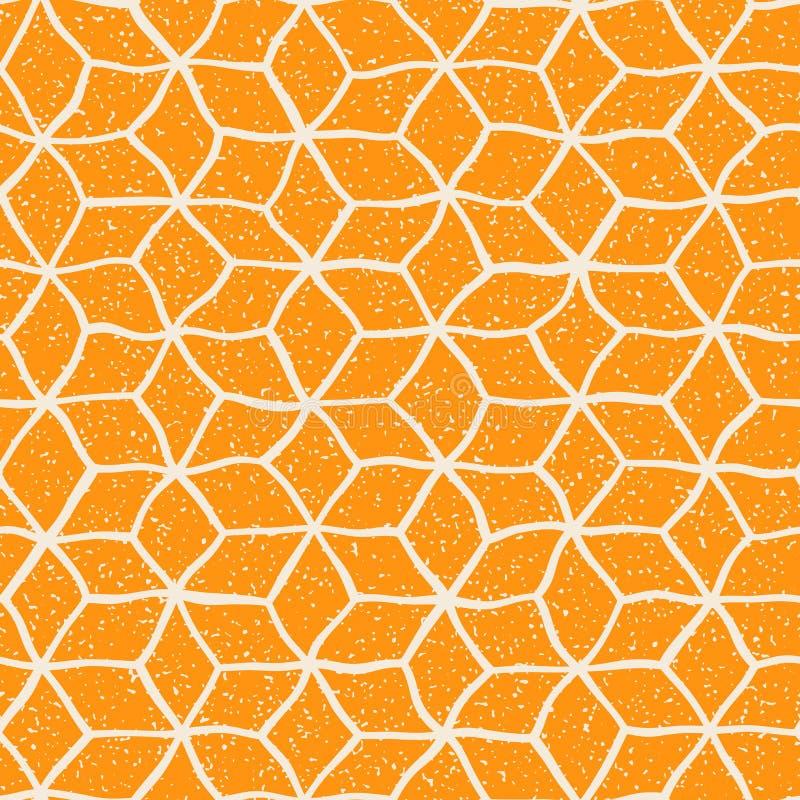Het vector Naadloze Gele Witte van de de Stervorm van Kleurenhand Getrokken Vervormde Lijnen Retro Patroon van Grunge stock illustratie