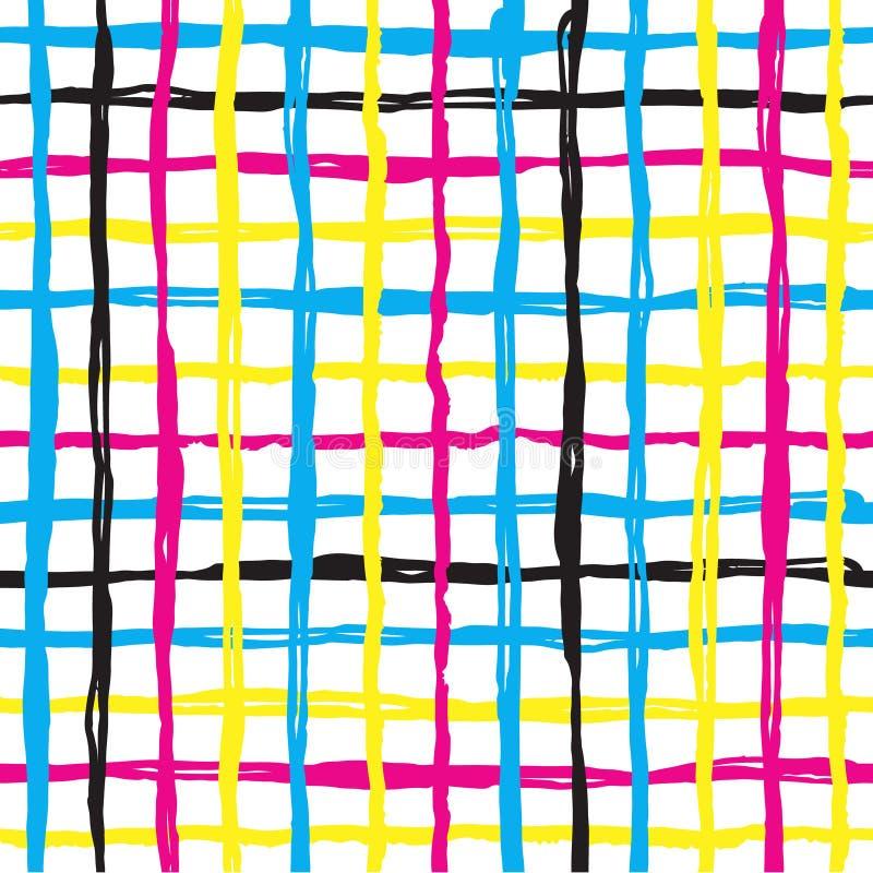 Het vector naadloze kruis en de cel van de patroonborstel gele blauwe roze kleur op witte achtergrond Hand geschilderde landhuist royalty-vrije illustratie