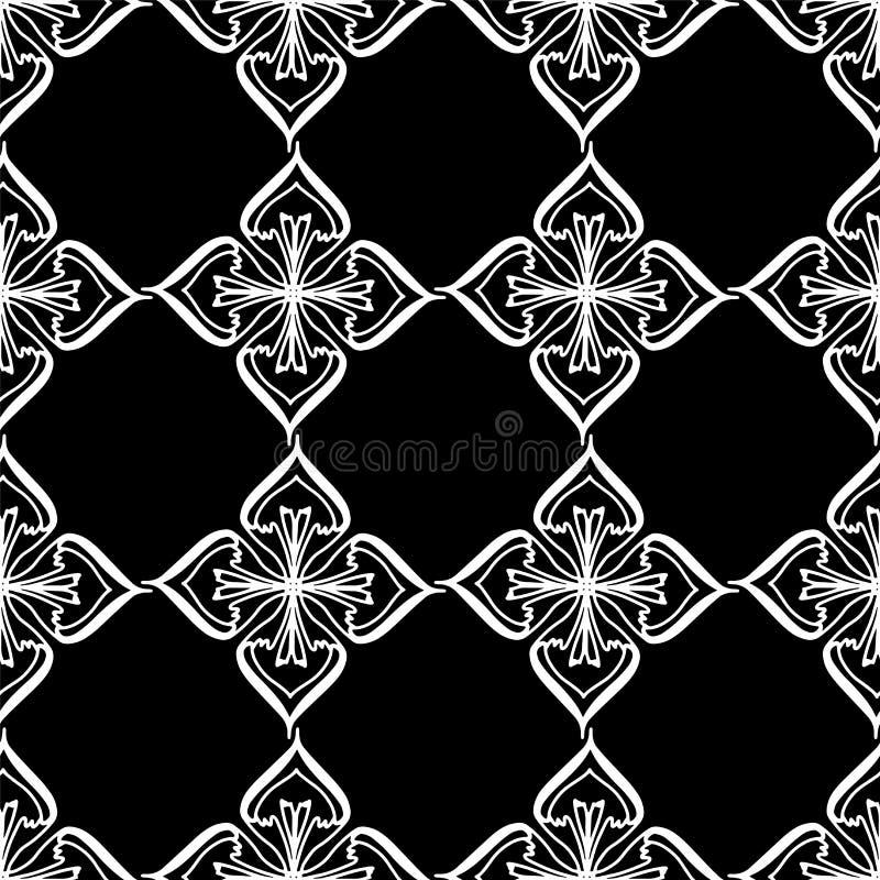 Het vector naadloze ornament van de patroonsymmetrie met een witte mandala royalty-vrije illustratie