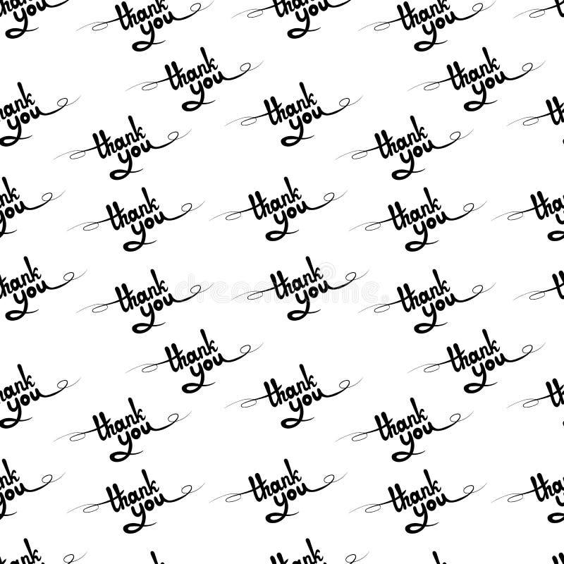 Het vector Naadloze Patroon, dankt u Kalligrafisch Word, Van letters voorziend Achtergrond royalty-vrije illustratie