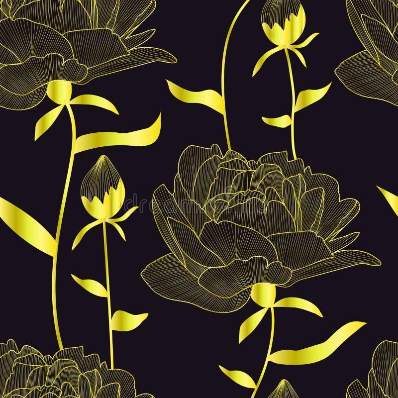 Het vector naadloze patroon, druk met gouden pionen, bloemen en knoppen, gaat weg Elegante, romantische bloementextuur De zwarte  stock illustratie