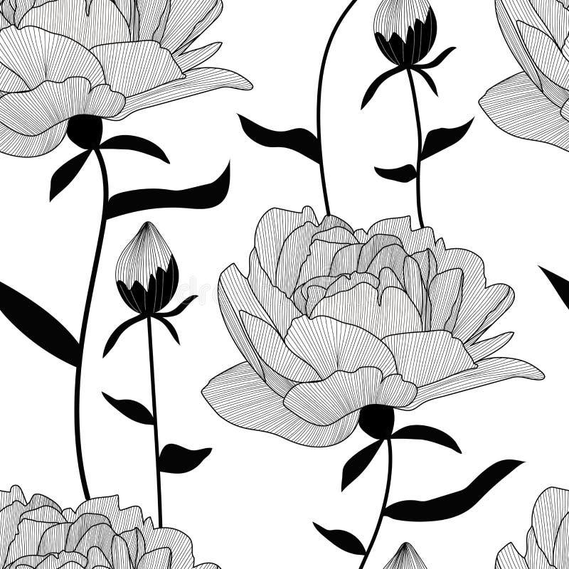 Het vector naadloze patroon, druk met pionen, bloemen en knoppen, gaat weg Elegante, romantische bloementextuur royalty-vrije illustratie
