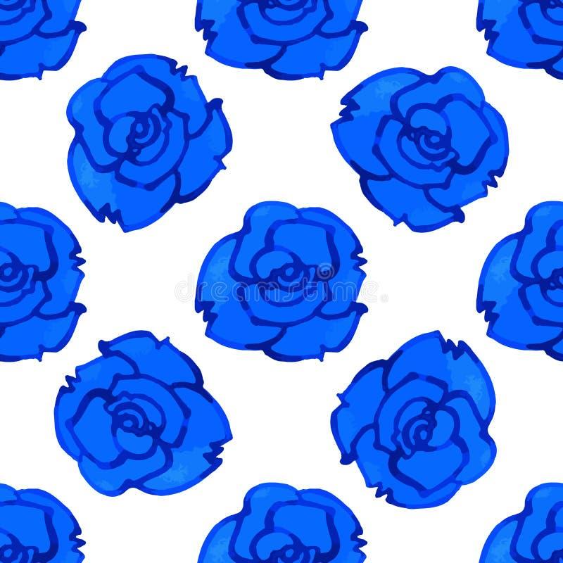 Het vector naadloze patroon met blauw nam toe watercolor royalty-vrije illustratie