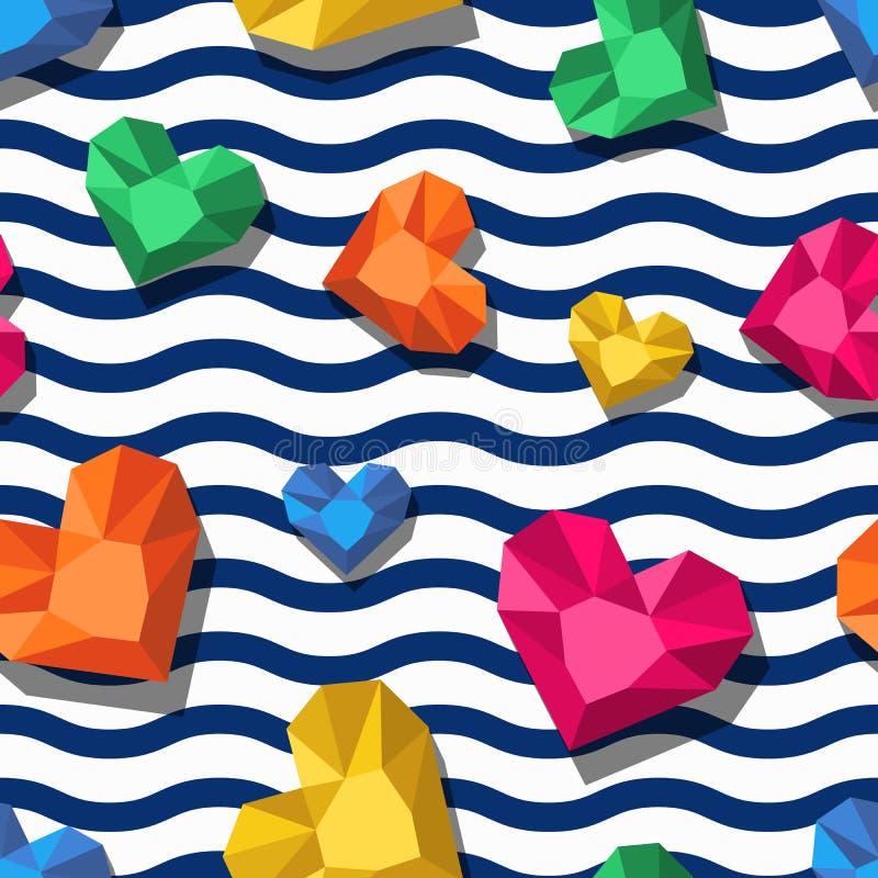 Het vector naadloze patroon met 3d gestileerd juweel, gemmen in hart vormt en golvende strepen vector illustratie