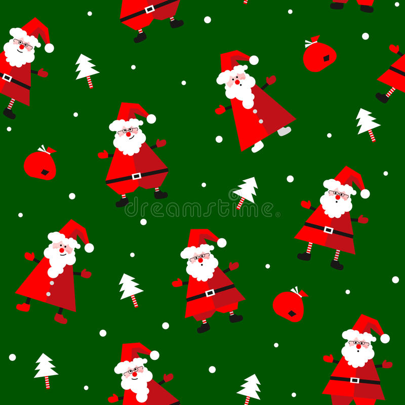 Het vector naadloze patroon met de grappige Kerstman, stelt en spar voor vector illustratie