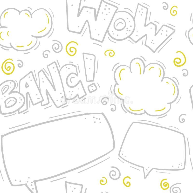 Het vector naadloze patroon met grappige brieven, toespraakbel, tekstvakje, rookt in hand getrokken stijl vector illustratie