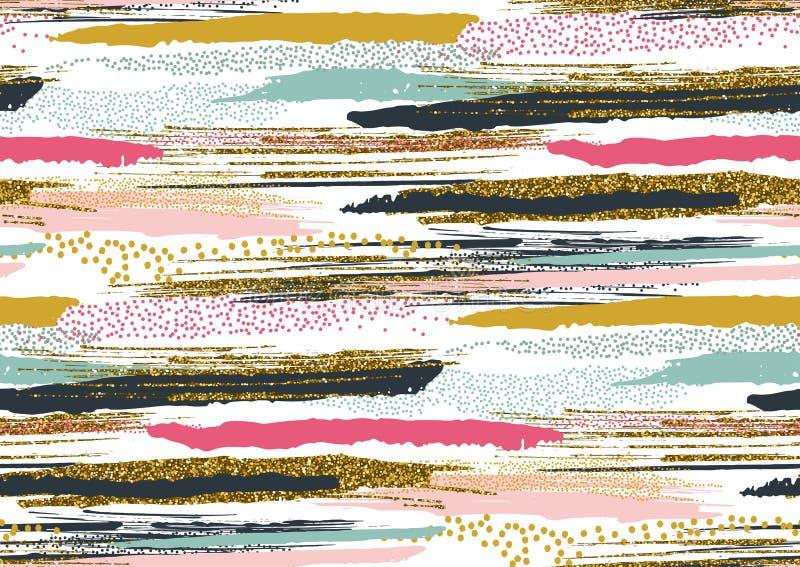 Het vector naadloze patroon met hand getrokken goud schittert geweven borstelslagen vector illustratie