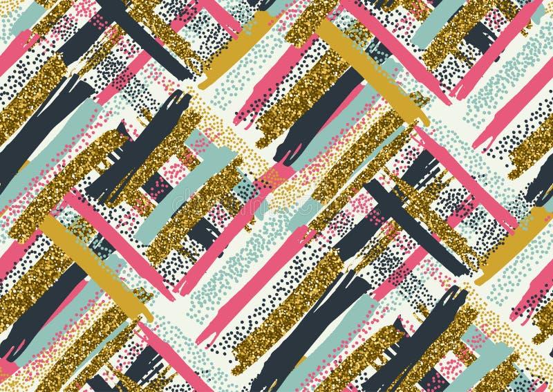 Het vector naadloze patroon met hand getrokken goud schittert geweven borstelslagen royalty-vrije illustratie