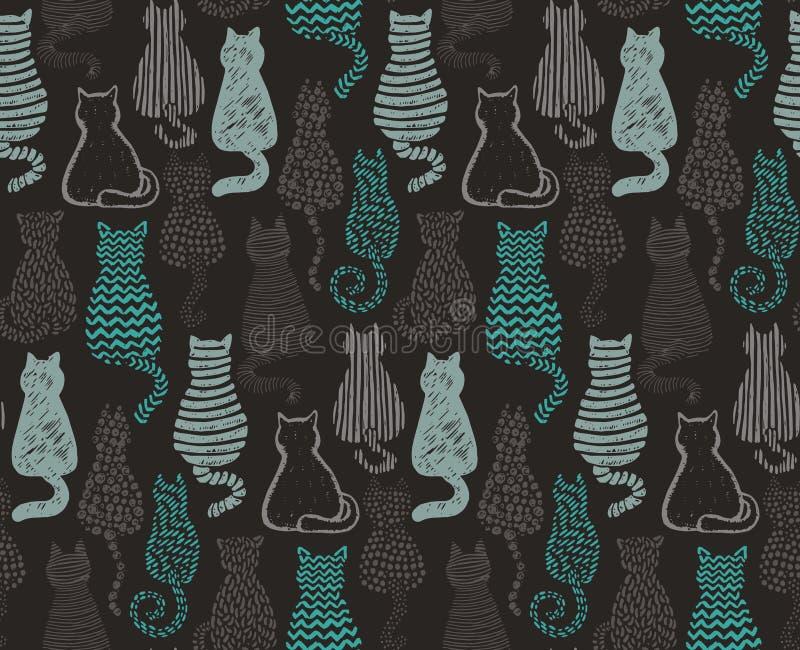 Het vector naadloze patroon met hand trekt geweven katten vector illustratie