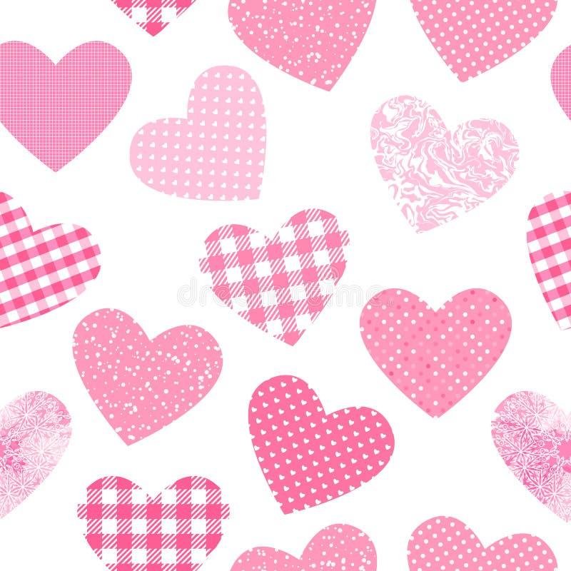 Het vector naadloze patroon met harten geeft roze kleurentextuur gestalte De samenvatting vormt girly doek op witte achtergrond w stock illustratie