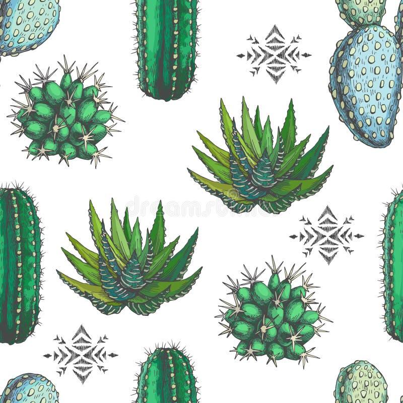 Het vector naadloze patroon met kleur houseplants en aztec ornamen stock illustratie