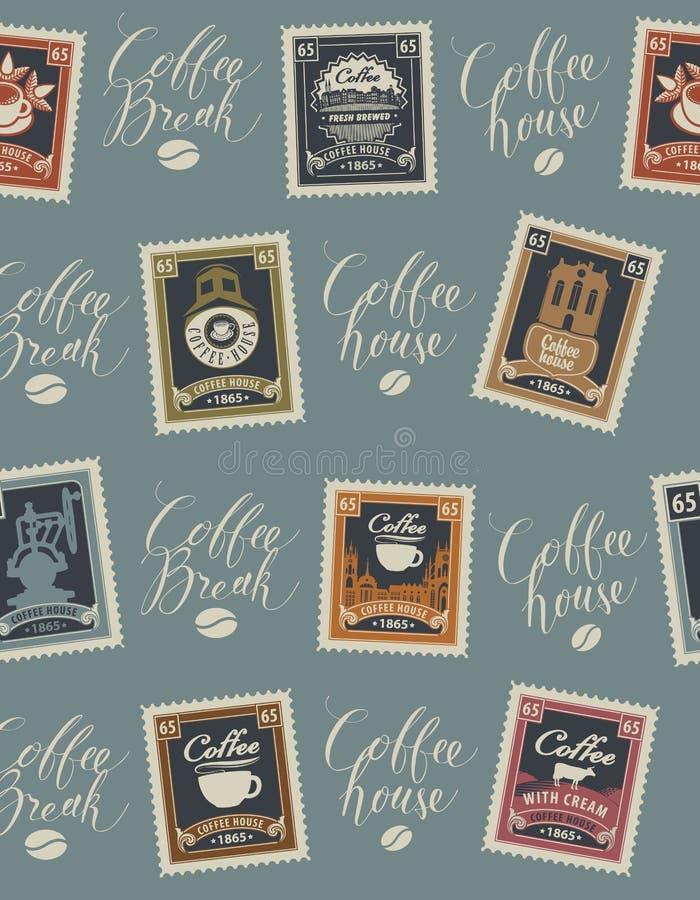 Het vector naadloze patroon met postzegels en de met de hand geschreven inschrijvingen op koffie en coffeehouse als thema hebben  vector illustratie