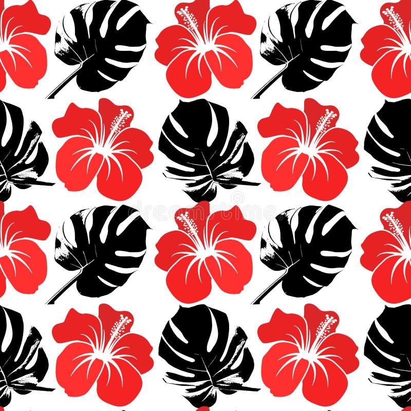 Het vector naadloze patroon met silhouet van tropisch doorbladert stock illustratie