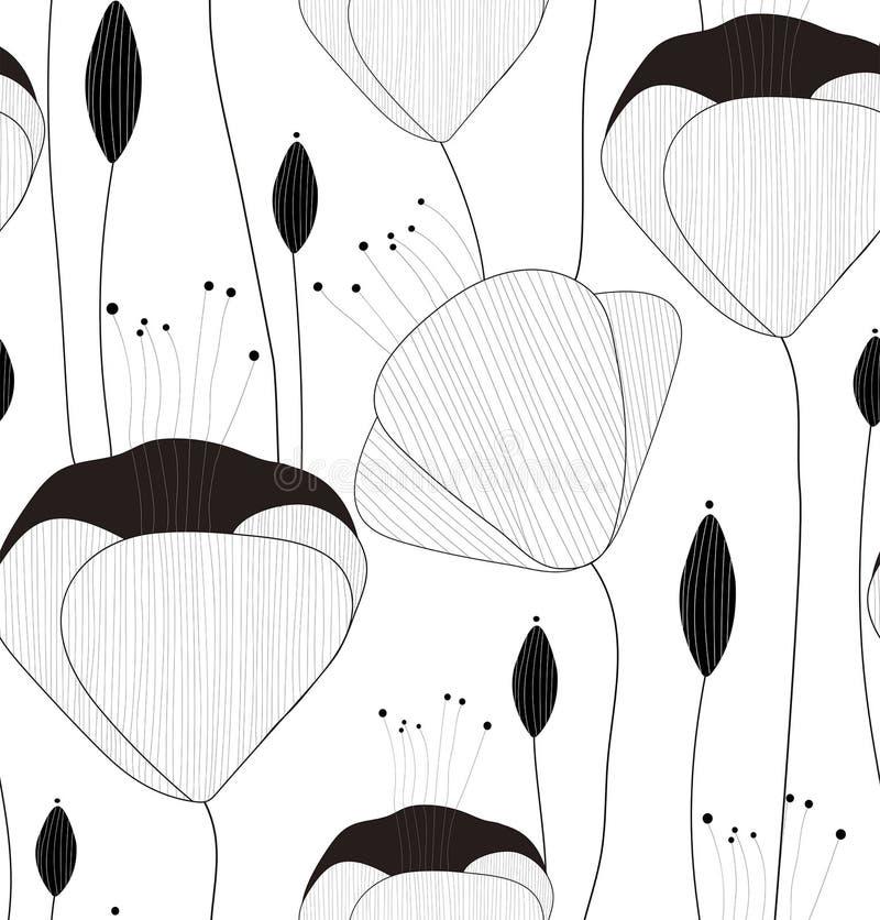 Het vector naadloze patroon, textuur, druk met getrokken hand bloeit en knoppen op de witte achtergrond stock illustratie