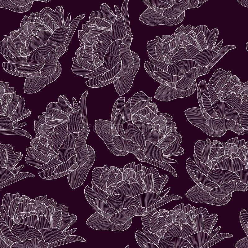 Het vector naadloze patroon, textuur met getrokken hand bloeit, pionen op de donkere gekleurde achtergrond Elegante, romantische, vector illustratie