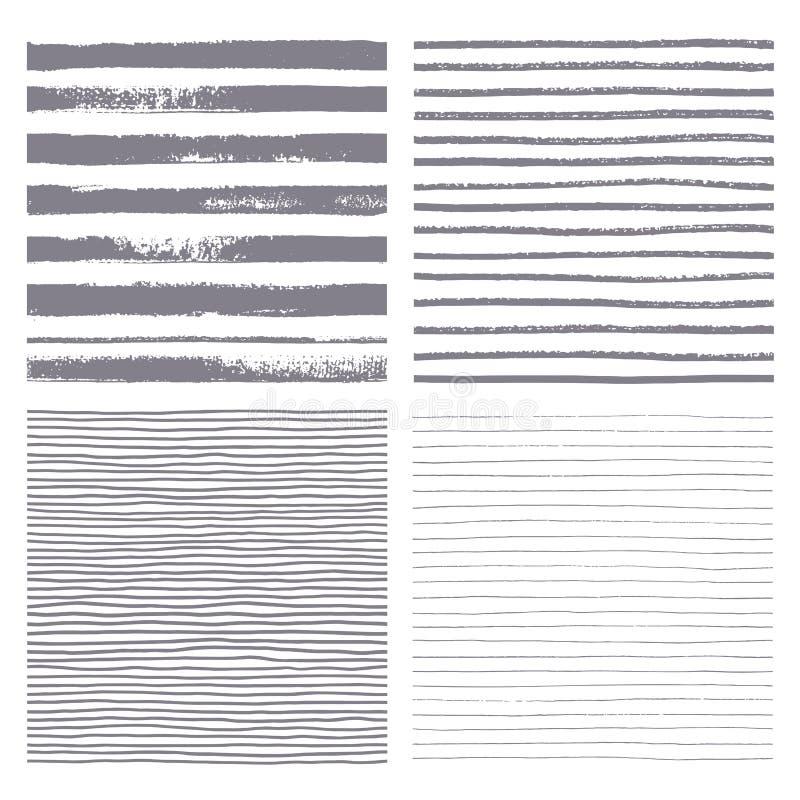 Het vector naadloze patroon van borstelstrepen Reeks dunne en dikke lijnen vector illustratie