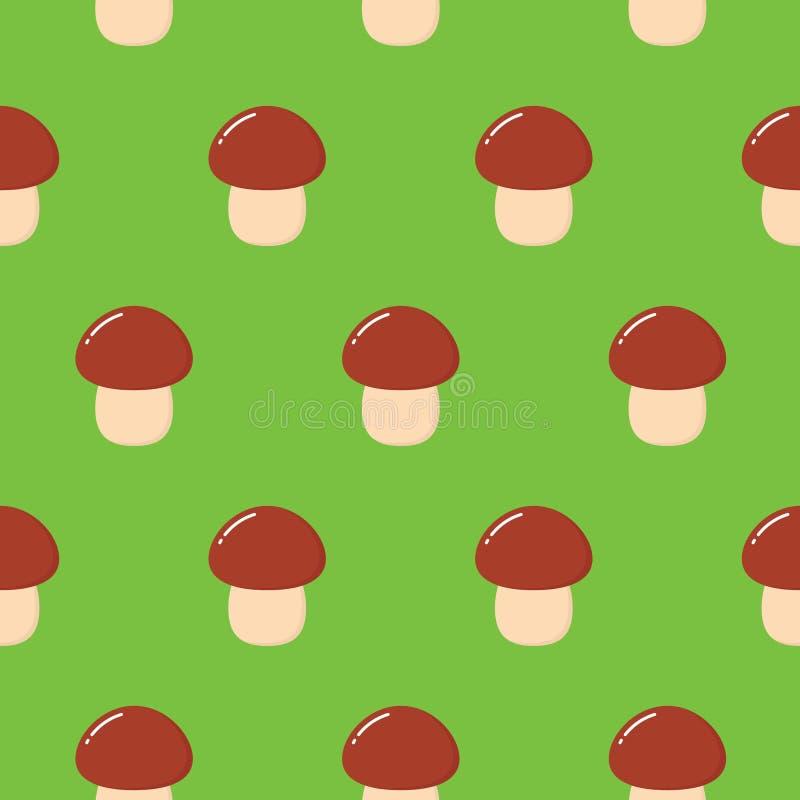 Het vector naadloze patroon van de beeldverhaalstijl met bospaddestoelen Sier, traditioneel, naadloos patroon met bospaddestoel royalty-vrije illustratie