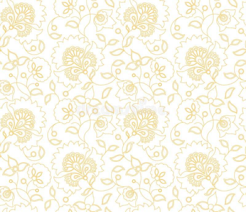 Het vector naadloze patroon van de bloem Indische stijl op witte achtergrond royalty-vrije stock afbeelding