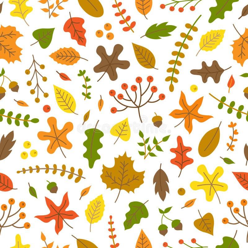 Het vector naadloze patroon van de herfstbladeren vector illustratie