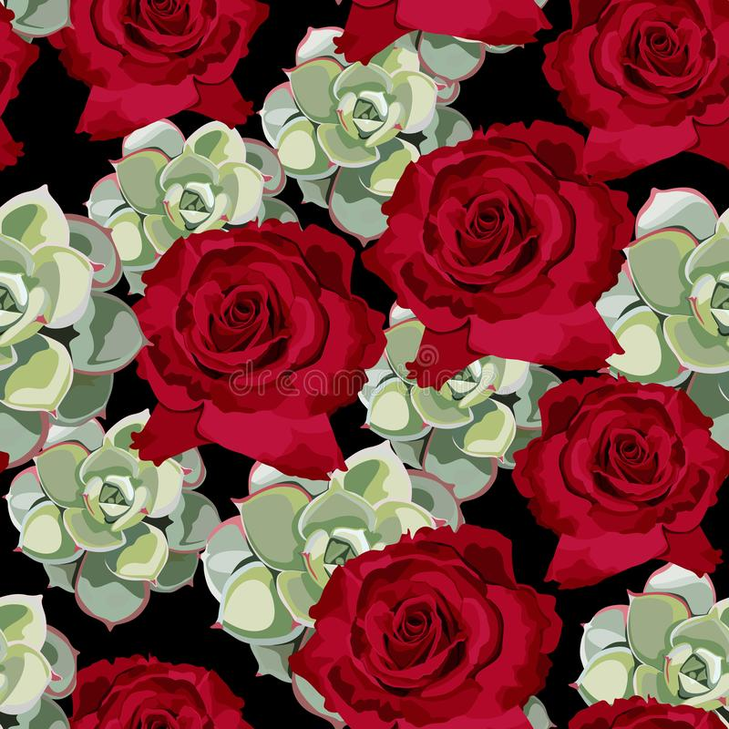 Het vector naadloze patroon van de de lentebloem met succulents en rode rozen royalty-vrije illustratie