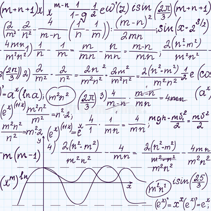 Het vector naadloze patroon van de onderwijswiskunde met met de hand geschreven formules, taken, percelen, berekeningen en geomet vector illustratie