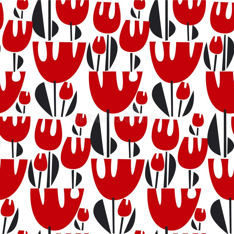 Het vector naadloze patroon van de tulpenkleur royalty-vrije illustratie