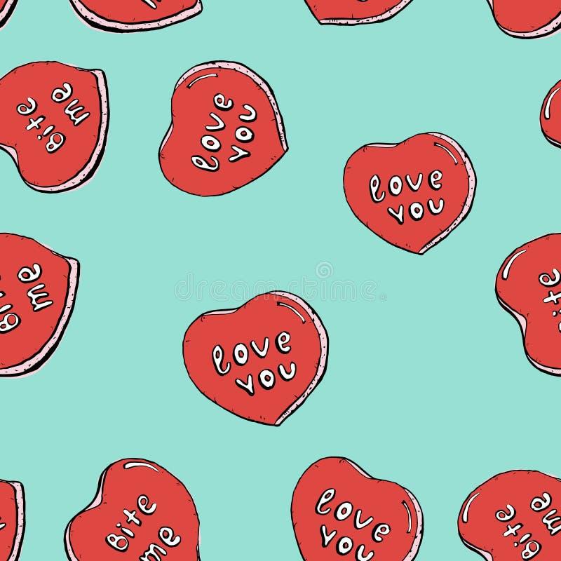 Het vector naadloze patroon van de Valentine'sdag met hand getrokken hartenkoekjes op blauwe achtergrond stock illustratie