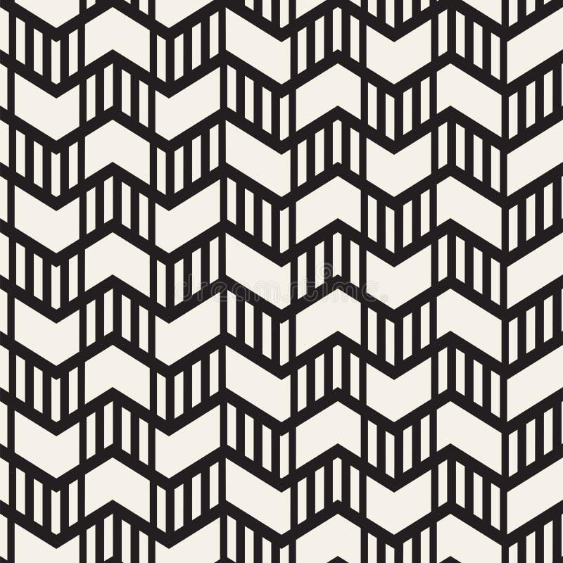 Het vector naadloze patroon van de zigzaglijn Abstracte modieuze geometrische achtergrond Het herhalen van roosterachtergrond stock illustratie