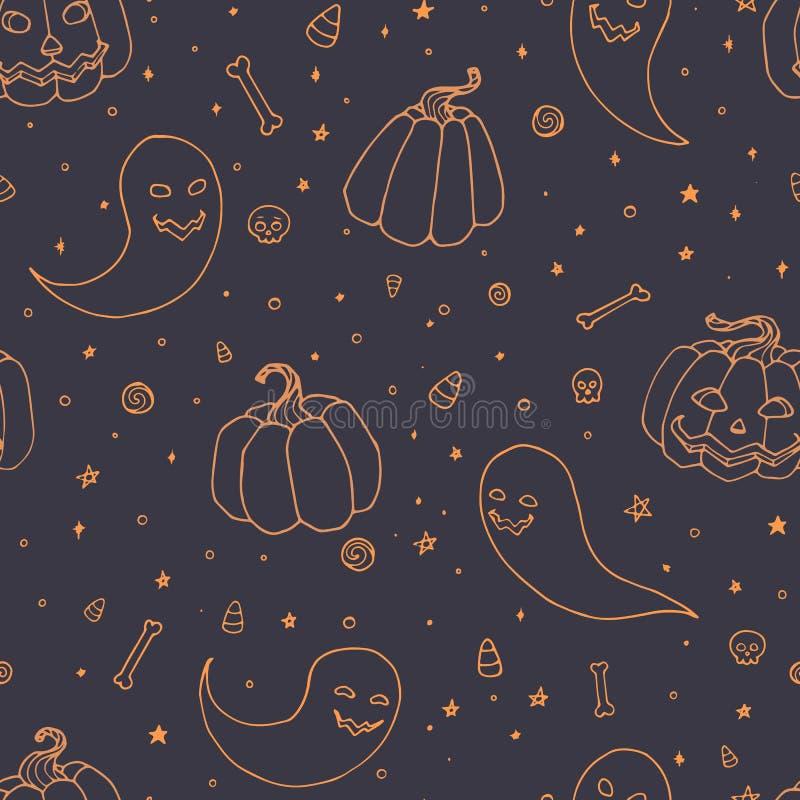 Het vector naadloze patroon van Halloween met pompoenen, spoken met enge gezichten, beenderen, schedels en het oranje schetsmatig royalty-vrije illustratie