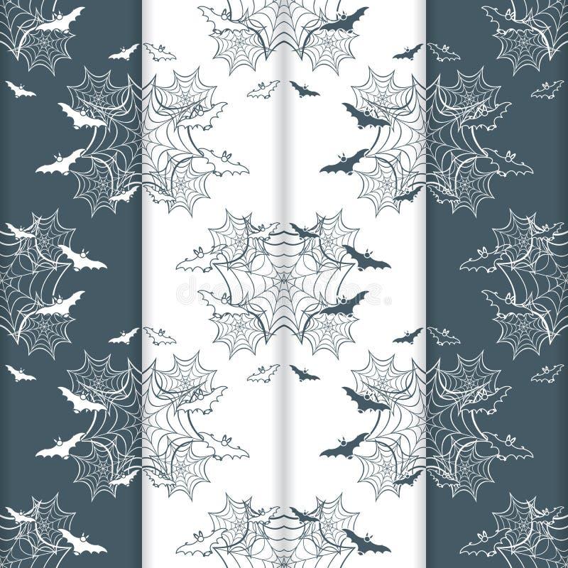 4 het vector naadloze patroon van Halloween met Web, knuppels vector illustratie
