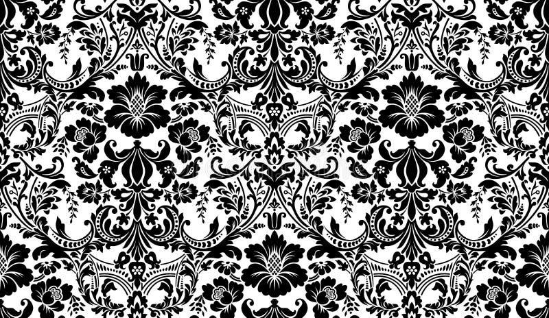 HET VECTOR NAADLOZE PATROON VAN HET DAMAST Zwart-wit beeld Rijk ornament, oud de stijlpatroon van Damascus voor behang, textiel,  vector illustratie