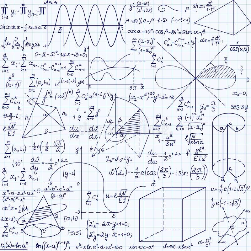 Het vector naadloze patroon van het wiskundeonderwijs met met de hand geschreven formules, taken, percelen, berekeningen en geome royalty-vrije illustratie