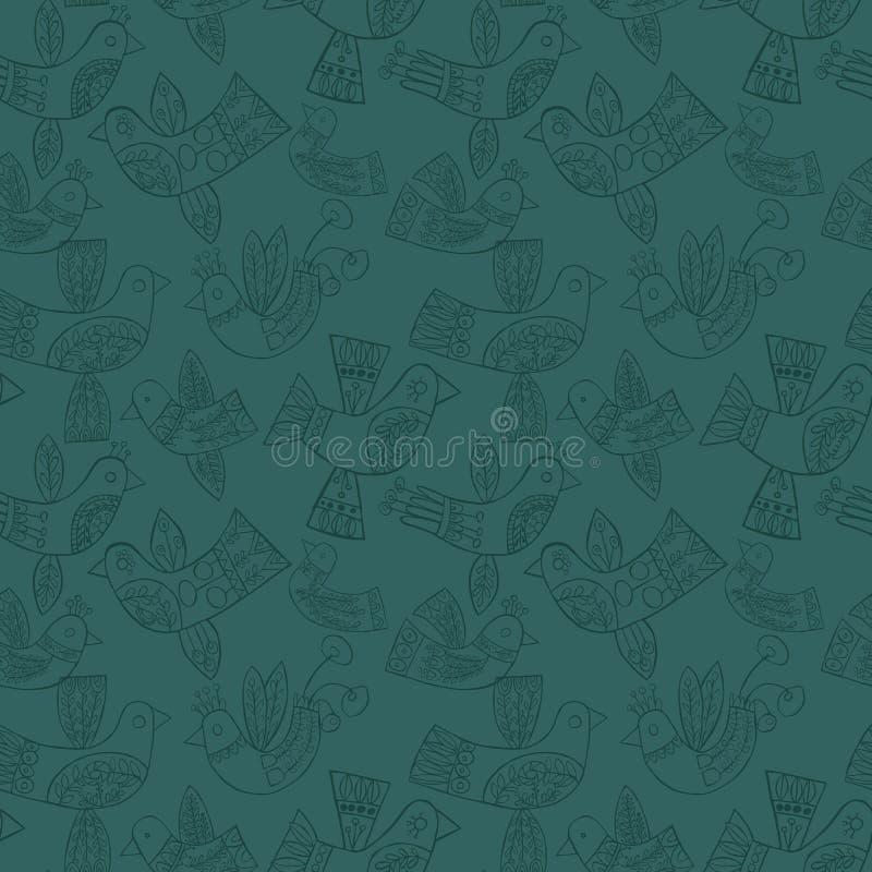 Het vector naadloze patroon van Kerstmis volks blauwe vogels royalty-vrije illustratie