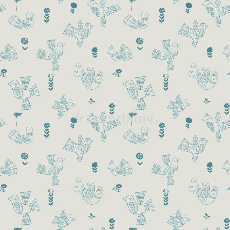 Het vector naadloze patroon van Kerstmis volks blauwe vogels vector illustratie