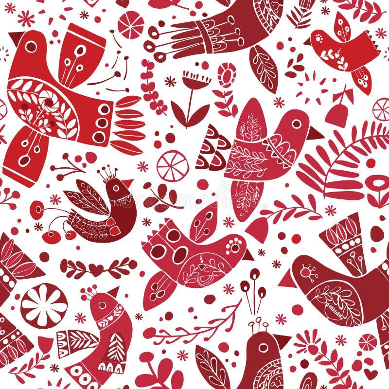 Het vector naadloze patroon van Kerstmis volks rode vogels stock illustratie