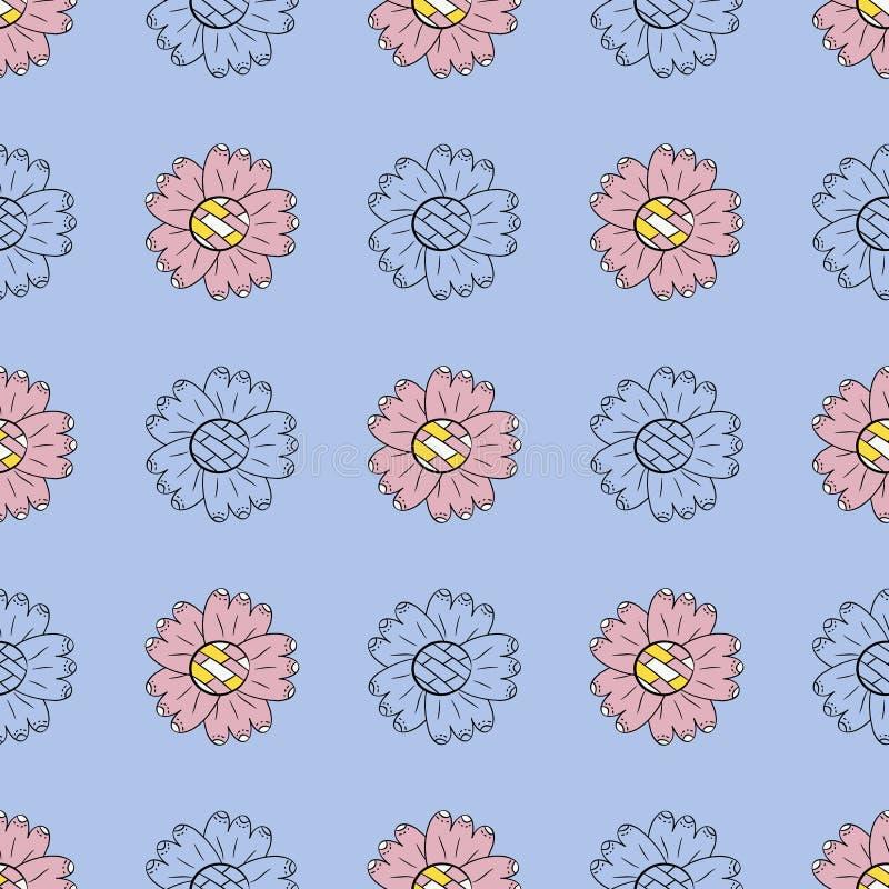 Het vector naadloze patroon van kleur en de zwart-wit zonnebloemen in Skandinavische stijl overhandigen getrokken Het Gebruik van royalty-vrije illustratie