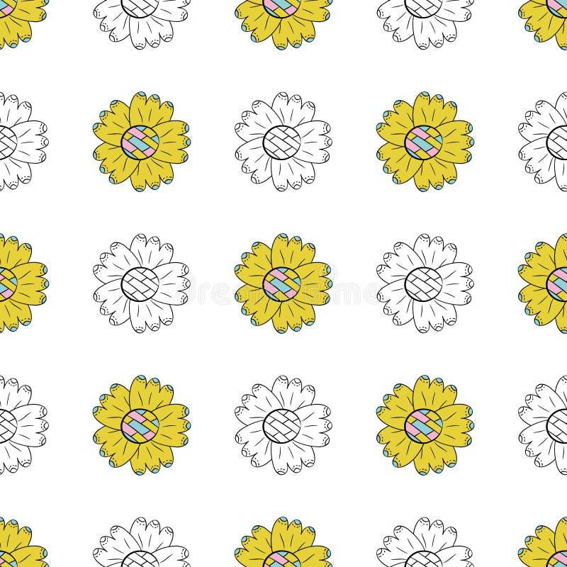 Het vector naadloze patroon van kleur en de zwart-wit zonnebloemen in Skandinavische stijl overhandigen getrokken op een witte ac royalty-vrije illustratie