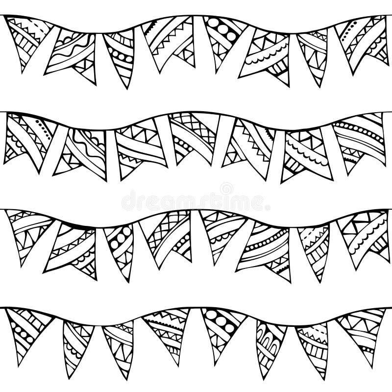 Het vector naadloze patroon van krabbelsslingers royalty-vrije illustratie