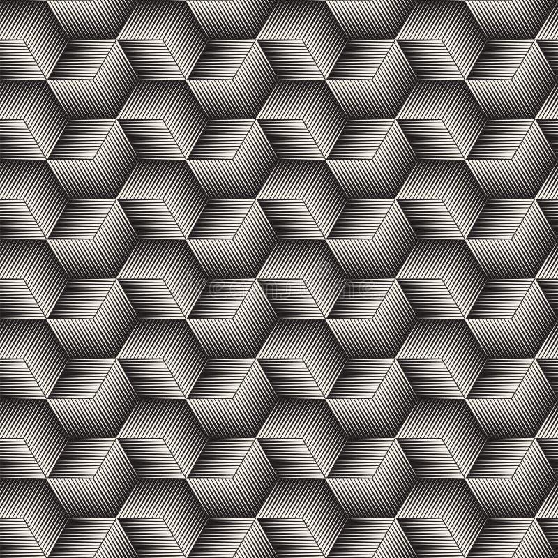 Het vector naadloze patroon van het lijnenmozaïek Moderne modieuze abstracte textuur Het herhalen van geometrische kubus halftone stock illustratie