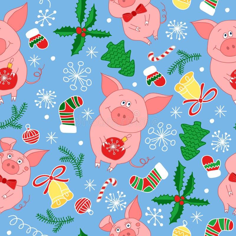 Het vector naadloze patroon van het nieuwjaar met varkens Vector naadloos patroon van Gelukkige Nieuwjaar en Kerstmisdag Het naad royalty-vrije illustratie