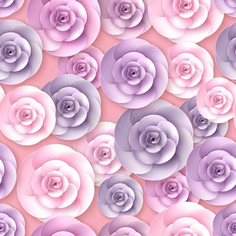 Het vector naadloze patroon van rozenbloemen vector illustratie
