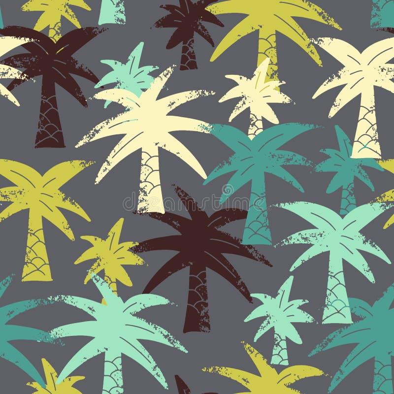Het vector naadloze patroon van tekeningspalmen, gekleurde artistieke botanische illustratie, isoleerde bloemenelementen, getrokk royalty-vrije illustratie