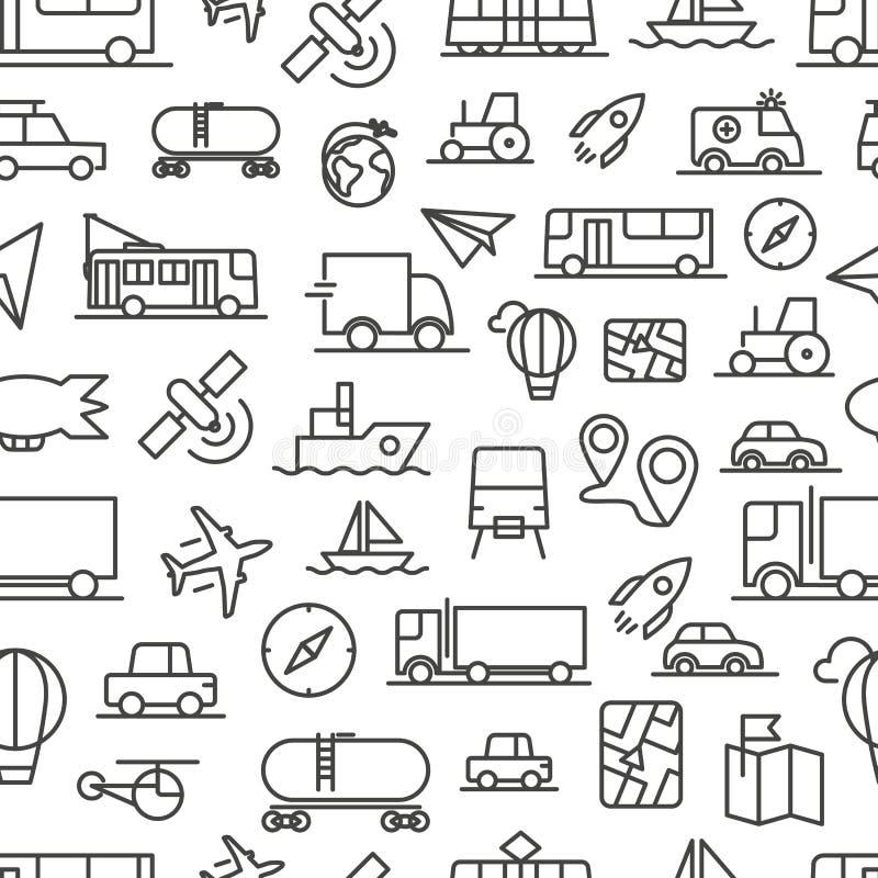 Het vector naadloze patroon van vervoerpictogrammen royalty-vrije illustratie