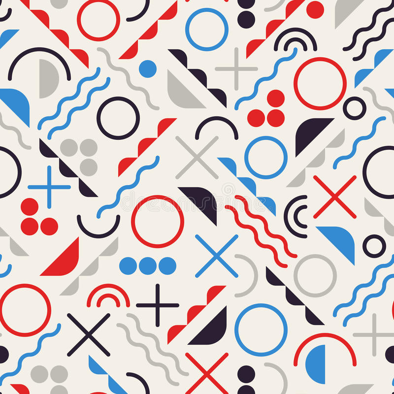 Het vector Naadloze Retro van de Lijnvormen van het de jaren '80allegaartje Geometrische Blauwe Patroon van de Rode Kleurenhipste stock illustratie