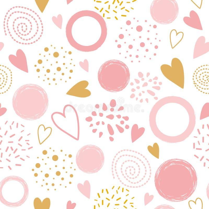 Het vector naadloze roze ornament van het patroonhart verfraaide roze die hand om de druk van de vormenpyjama wordt getrokken vector illustratie