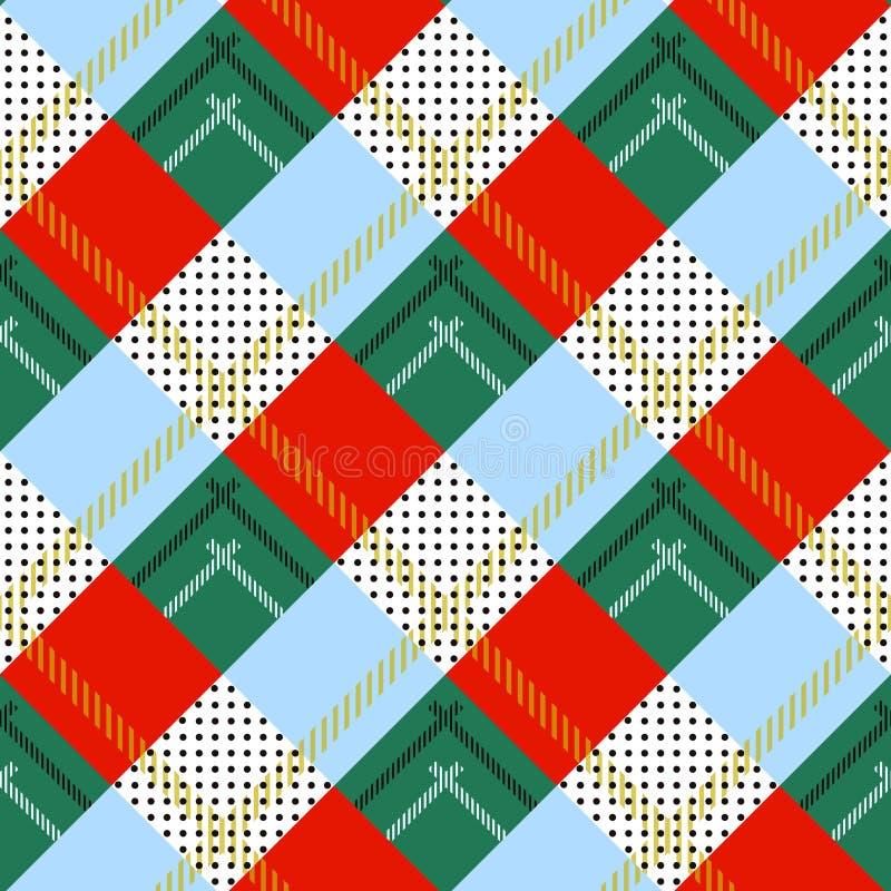 Het vector naadloze Schotse geruite Schots wollen stof van patrooncaledonia, zwart, wit, blauw geel, groen rood stock illustratie