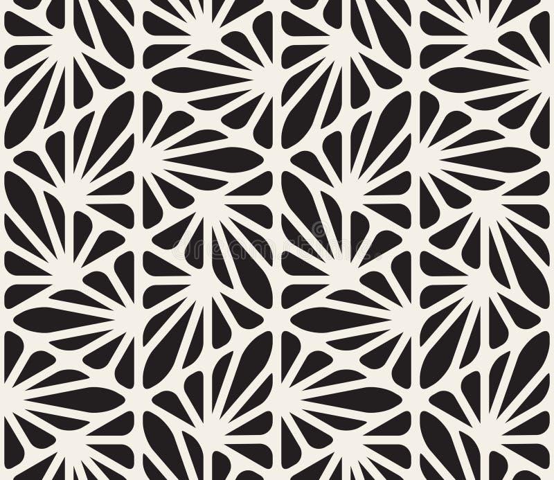 Het vector Naadloze Zwart-witte Bloemen Organische Hexagonale Geometrische Patroon van Driehoekslijnen royalty-vrije stock afbeelding