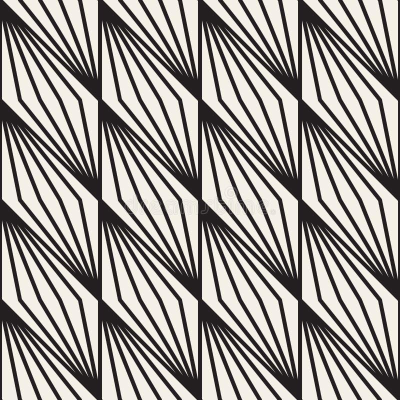 Het vector Naadloze Zwart-witte Geometrische Patroon van Streeplijnen stock illustratie