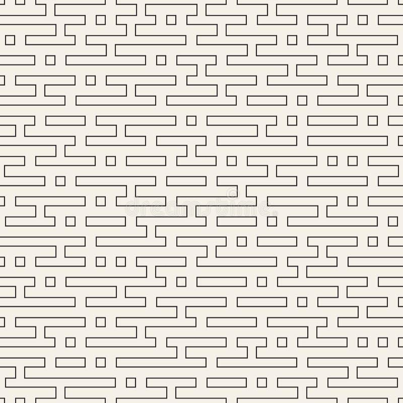Het vector naadloze zwart-witte patroon van het lijnenlabyrint Abstract geometrisch strepenontwerp als achtergrond royalty-vrije illustratie