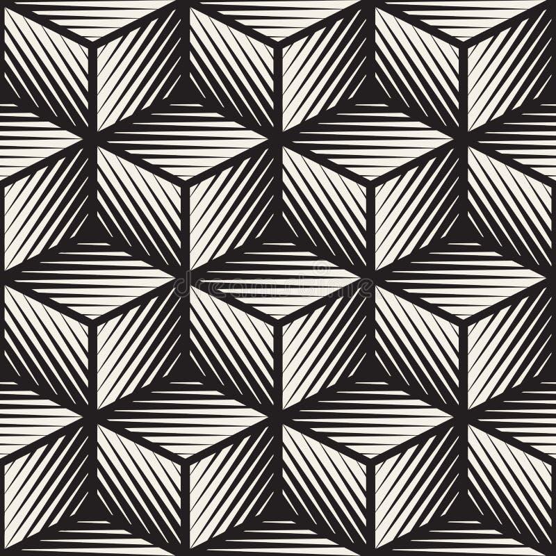 Het vector Naadloze Zwart-witte van de Lijnenengravement van de Kubusvorm Geometrische Patroon royalty-vrije illustratie